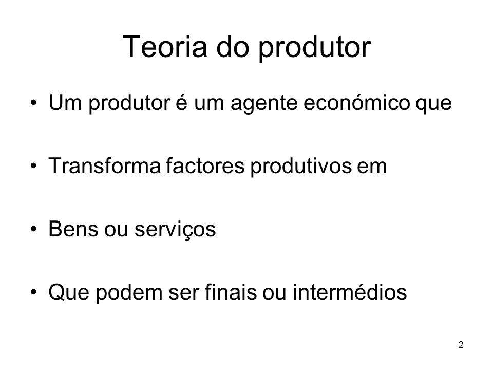 Teoria do produtor Um produtor é um agente económico que