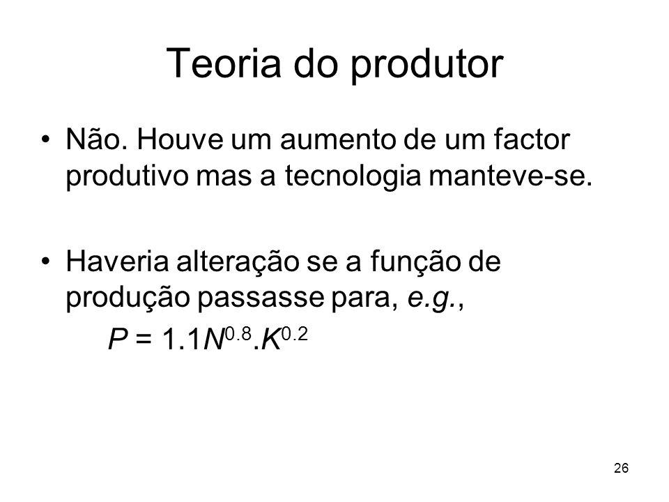Teoria do produtor Não. Houve um aumento de um factor produtivo mas a tecnologia manteve-se.