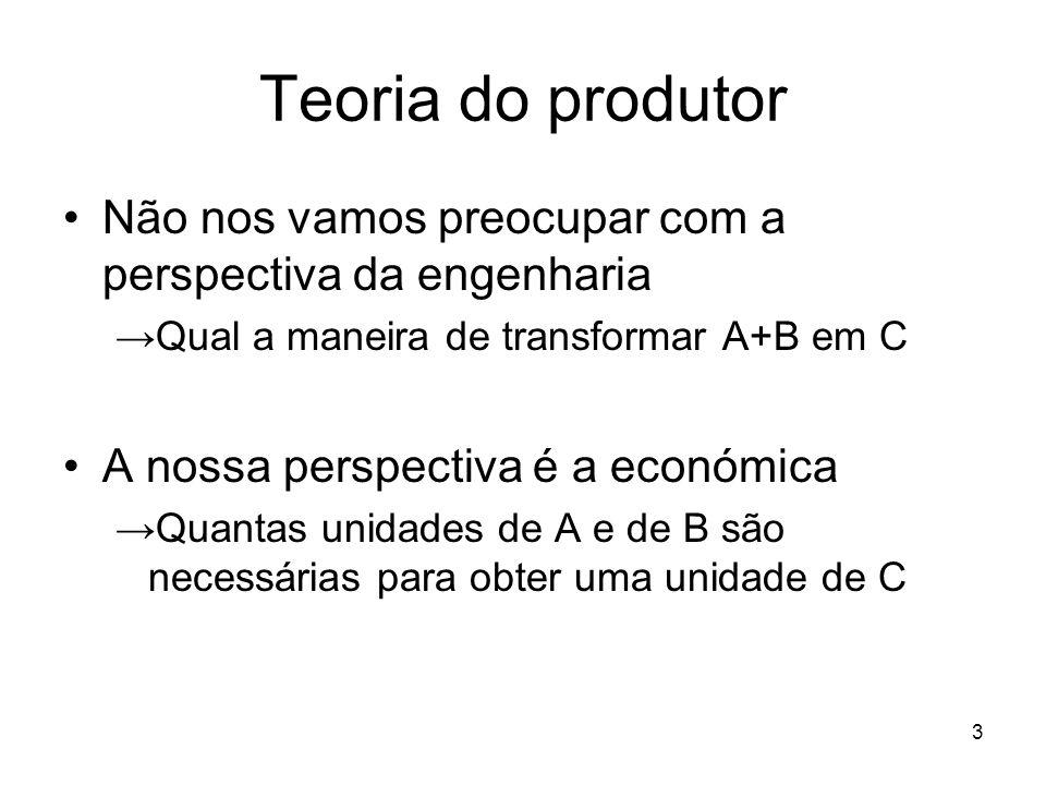 Teoria do produtor Não nos vamos preocupar com a perspectiva da engenharia. Qual a maneira de transformar A+B em C.