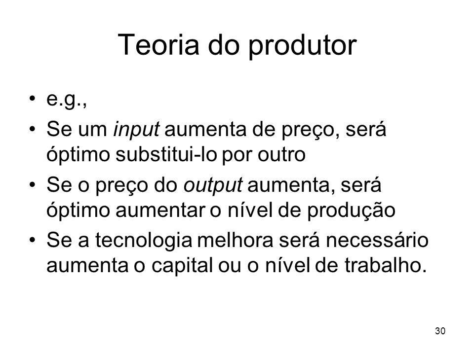 Teoria do produtor e.g., Se um input aumenta de preço, será óptimo substitui-lo por outro.