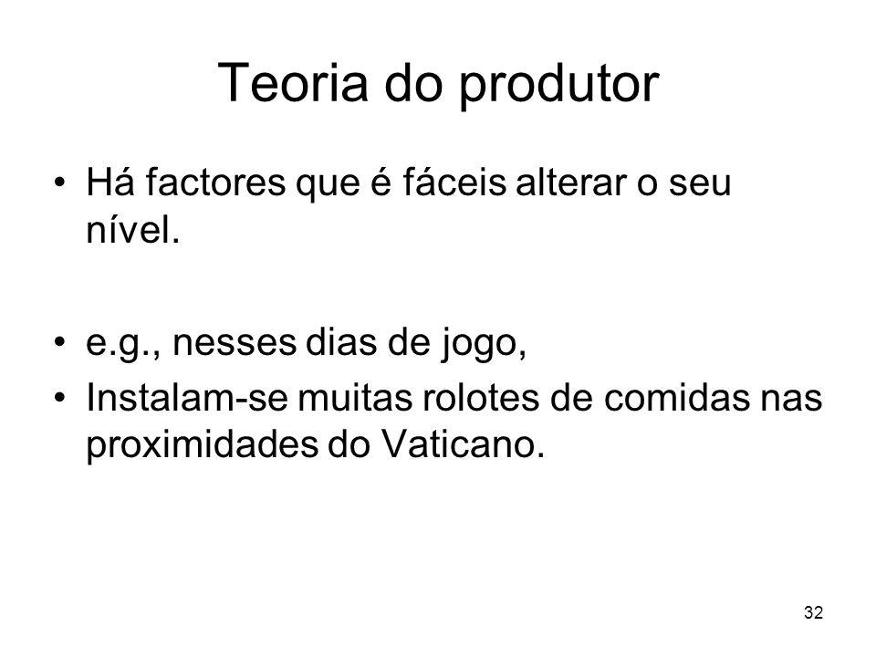 Teoria do produtor Há factores que é fáceis alterar o seu nível.