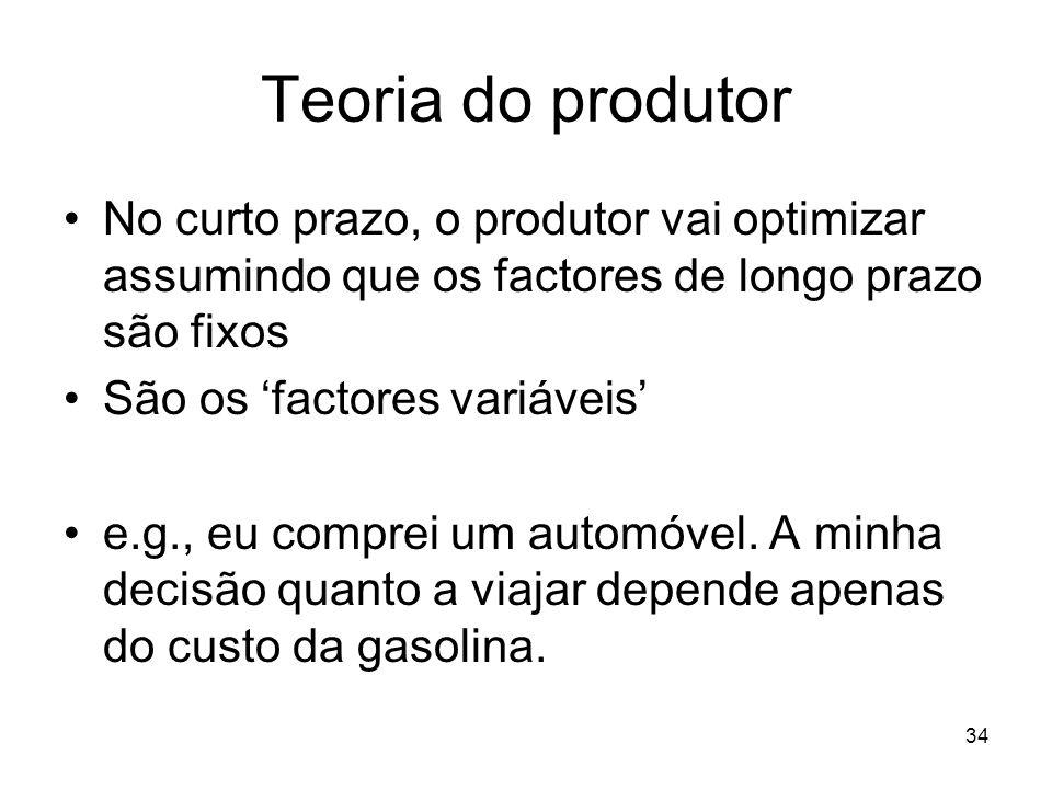 Teoria do produtor No curto prazo, o produtor vai optimizar assumindo que os factores de longo prazo são fixos.