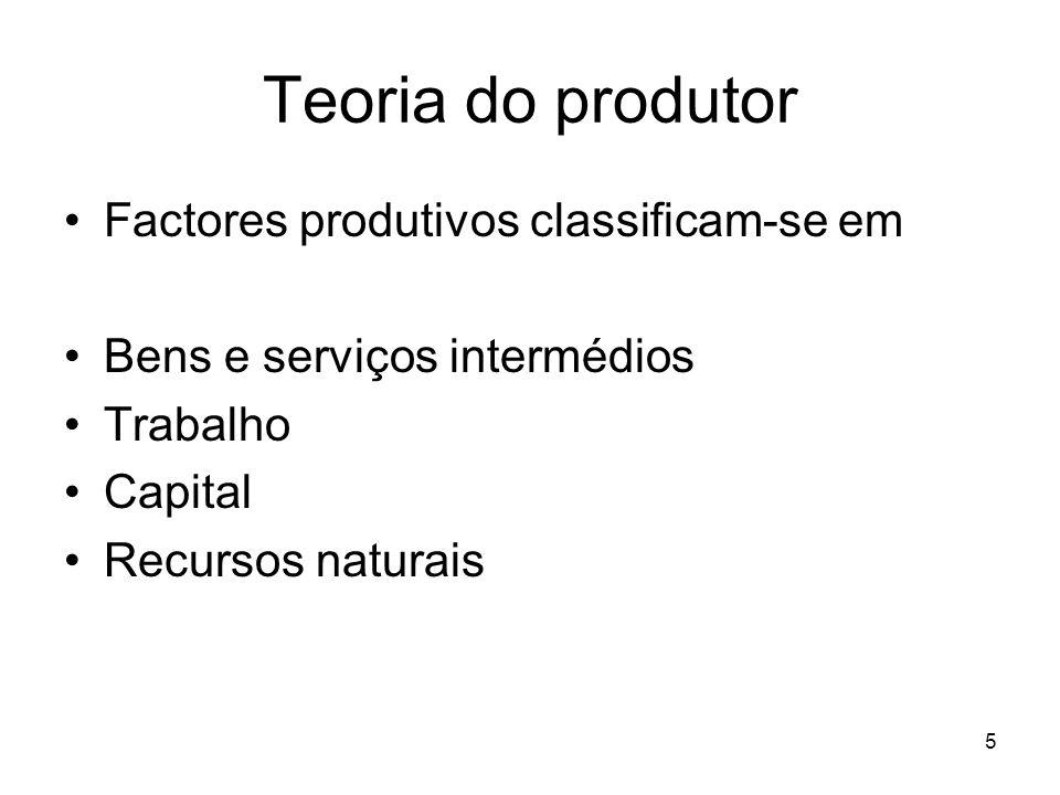 Teoria do produtor Factores produtivos classificam-se em
