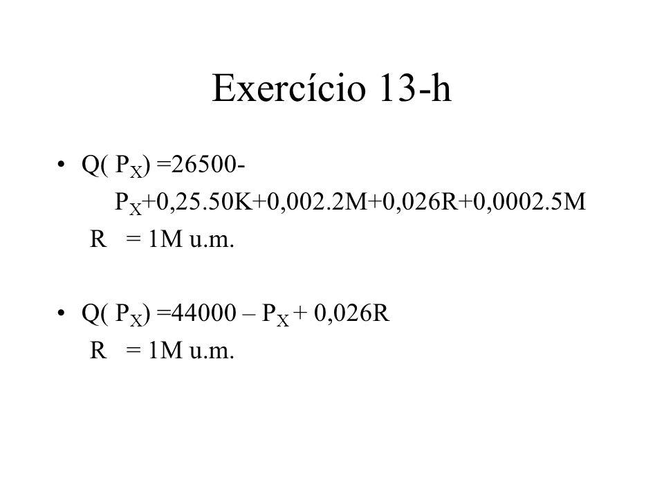 Exercício 13-h Q( PX) =26500- PX+0,25.50K+0,002.2M+0,026R+0,0002.5M