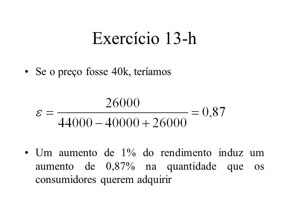 Exercício 13-h Se o preço fosse 40k, teríamos