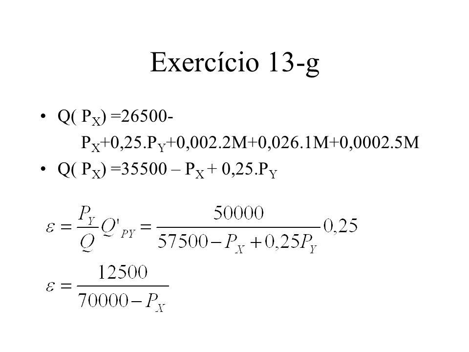 Exercício 13-g Q( PX) =26500- PX+0,25.PY+0,002.2M+0,026.1M+0,0002.5M