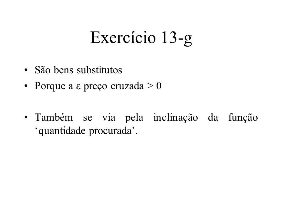 Exercício 13-g São bens substitutos Porque a  preço cruzada > 0