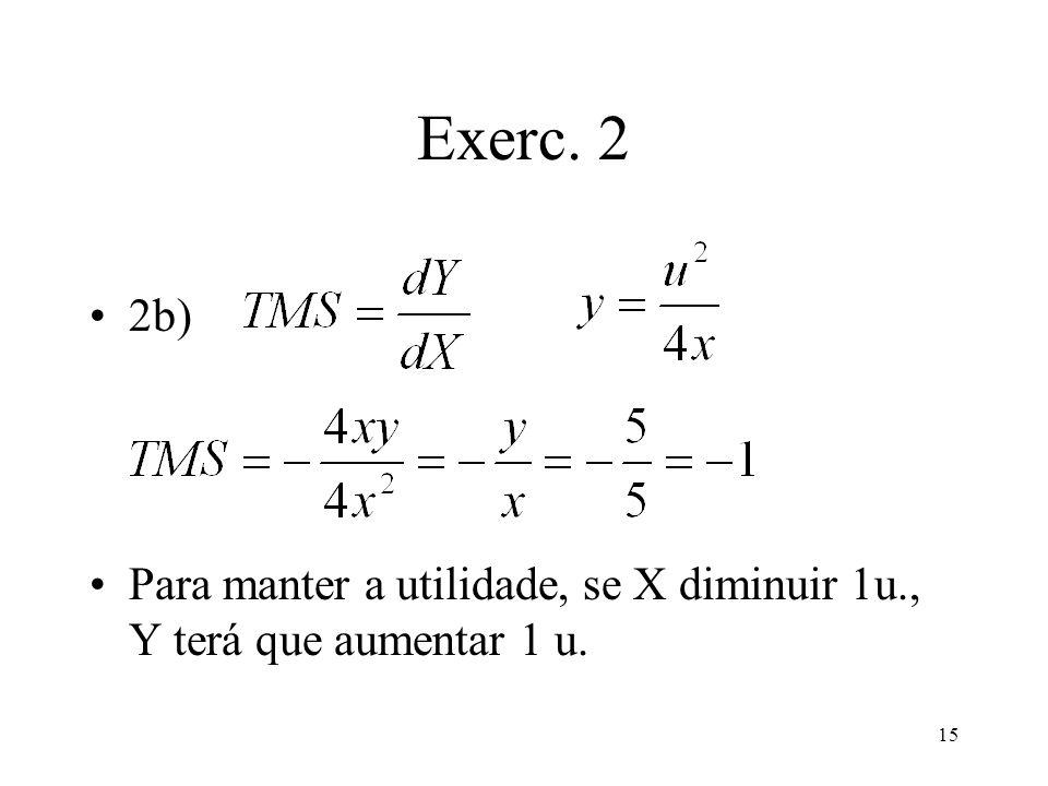 Exerc. 2 2b) Para manter a utilidade, se X diminuir 1u., Y terá que aumentar 1 u.