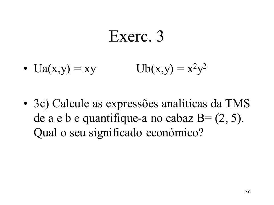 Exerc. 3 Ua(x,y) = xy Ub(x,y) = x2y2