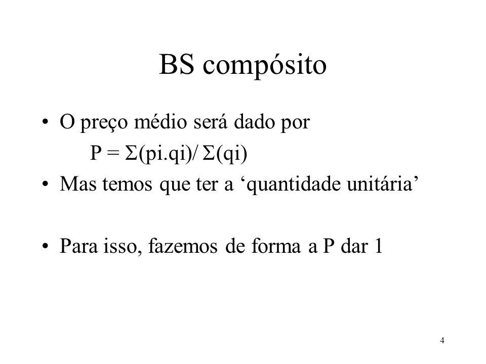 BS compósito O preço médio será dado por P = (pi.qi)/ (qi)