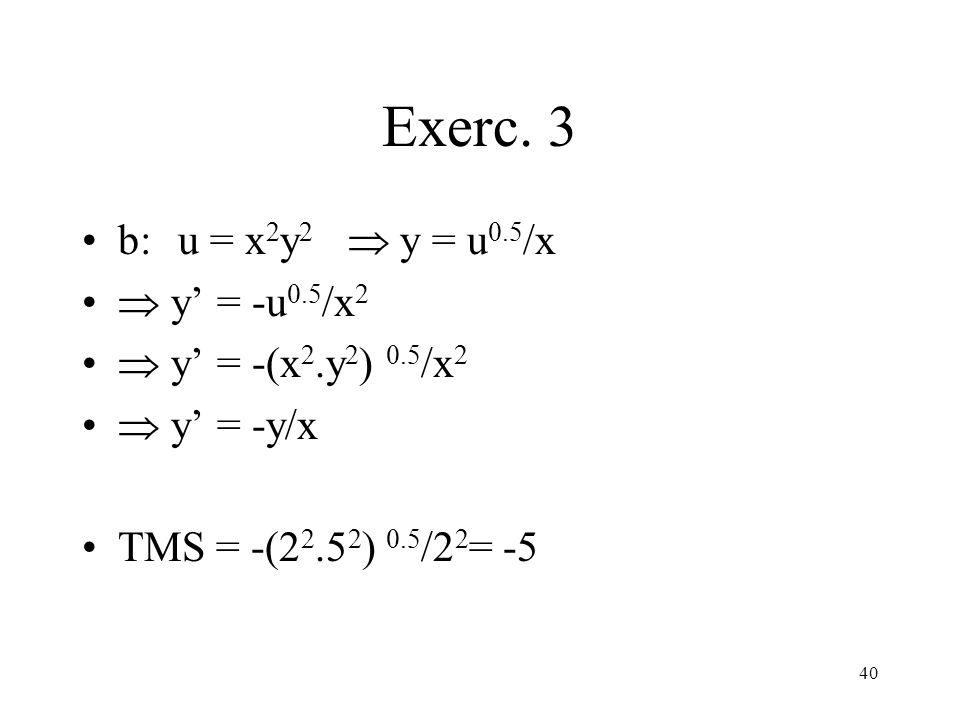 Exerc. 3 b: u = x2y2  y = u0.5/x  y' = -u0.5/x2