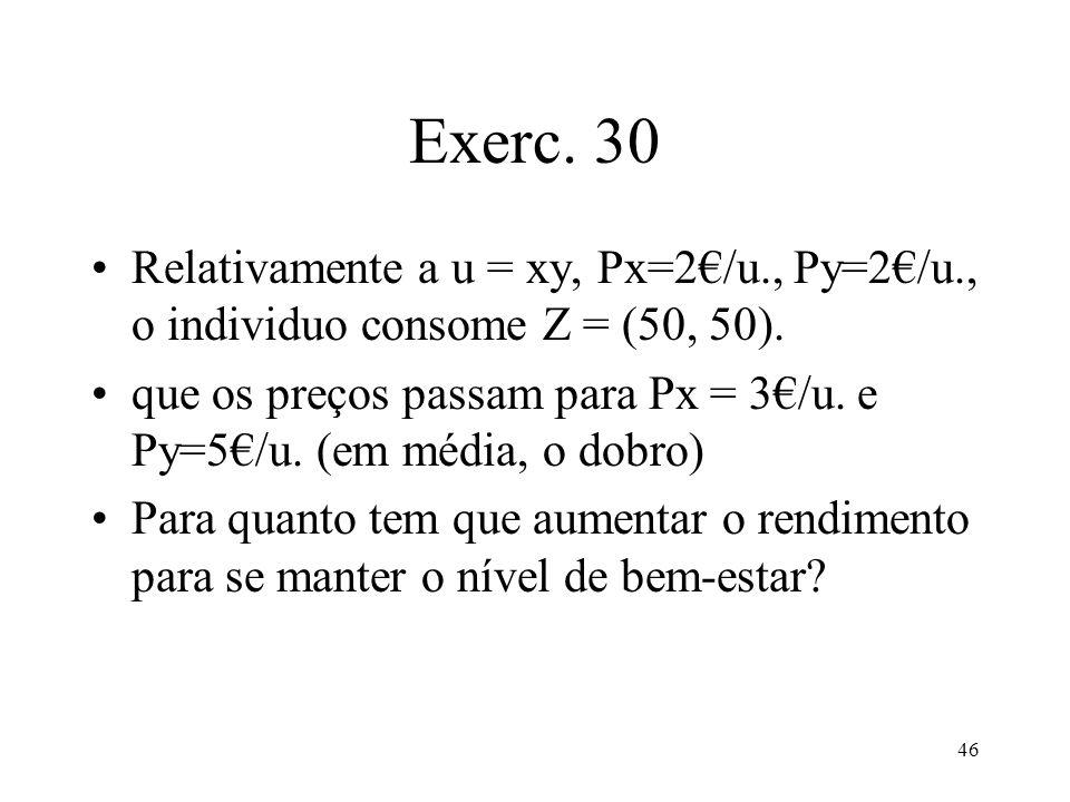 Exerc. 30 Relativamente a u = xy, Px=2€/u., Py=2€/u., o individuo consome Z = (50, 50).