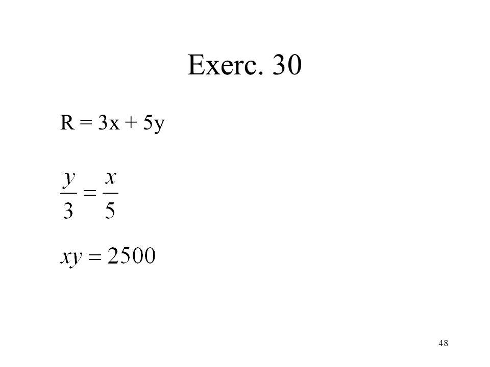Exerc. 30 R = 3x + 5y