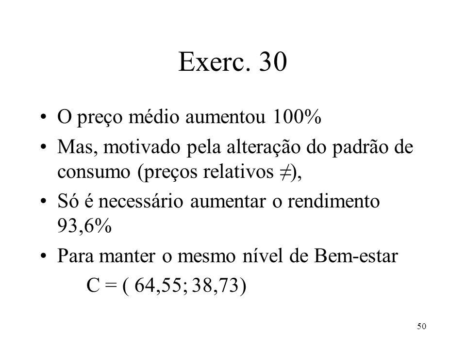 Exerc. 30 O preço médio aumentou 100%