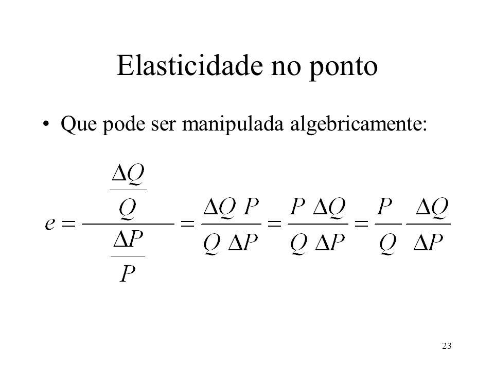 Elasticidade no ponto Que pode ser manipulada algebricamente: