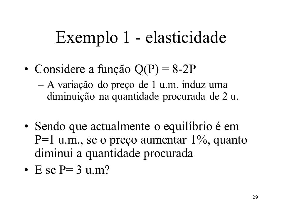 Exemplo 1 - elasticidade