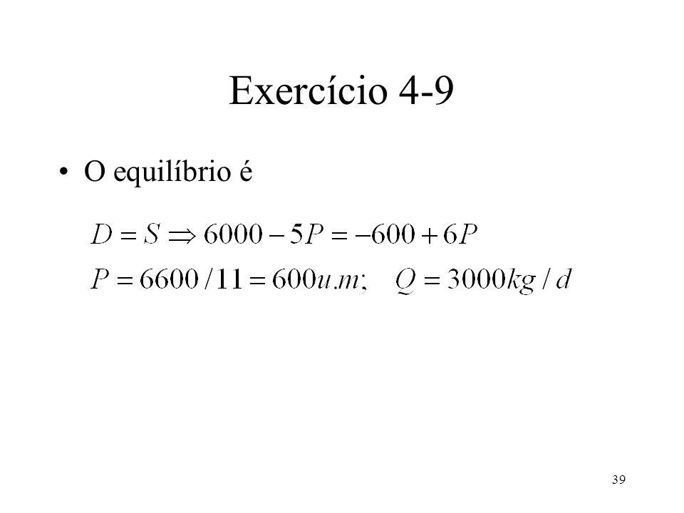 Exercício 4-9 O equilíbrio é