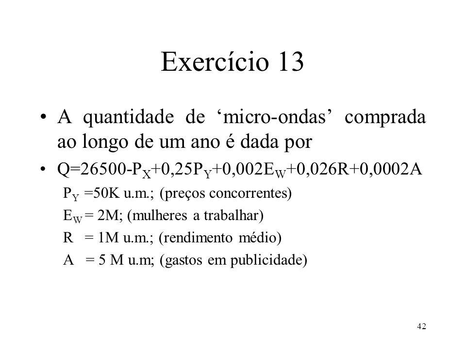 Exercício 13 A quantidade de 'micro-ondas' comprada ao longo de um ano é dada por. Q=26500-PX+0,25PY+0,002EW+0,026R+0,0002A.