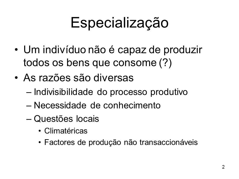Especialização Um indivíduo não é capaz de produzir todos os bens que consome ( ) As razões são diversas.