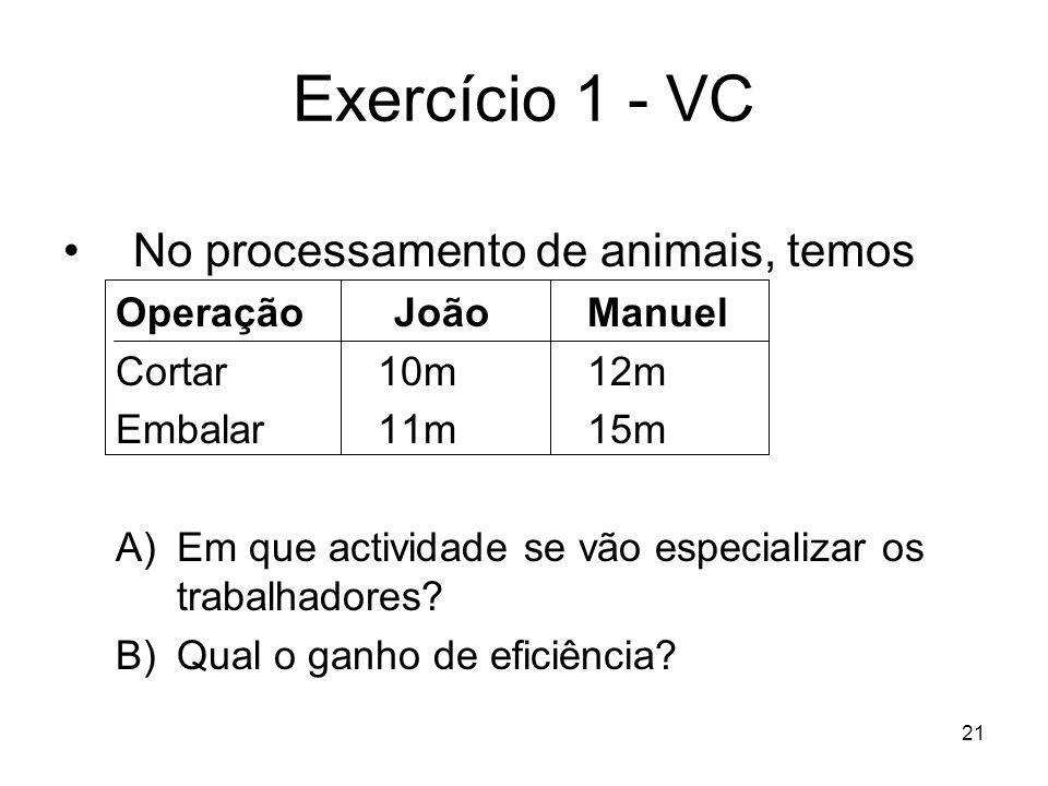 Exercício 1 - VC No processamento de animais, temos