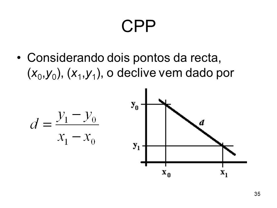 CPP Considerando dois pontos da recta, (x0,y0), (x1,y1), o declive vem dado por