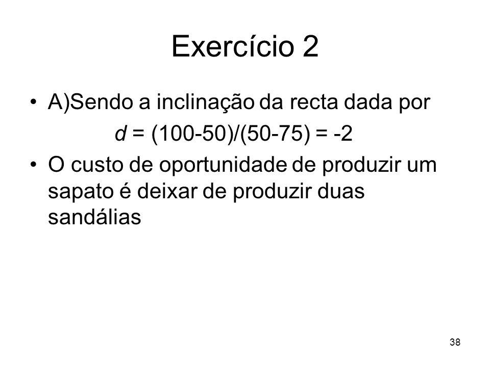 Exercício 2 A)Sendo a inclinação da recta dada por
