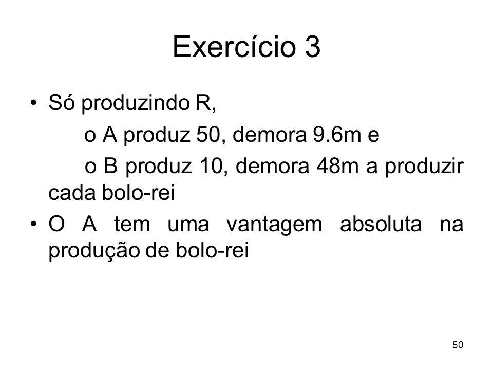 Exercício 3 Só produzindo R, o A produz 50, demora 9.6m e