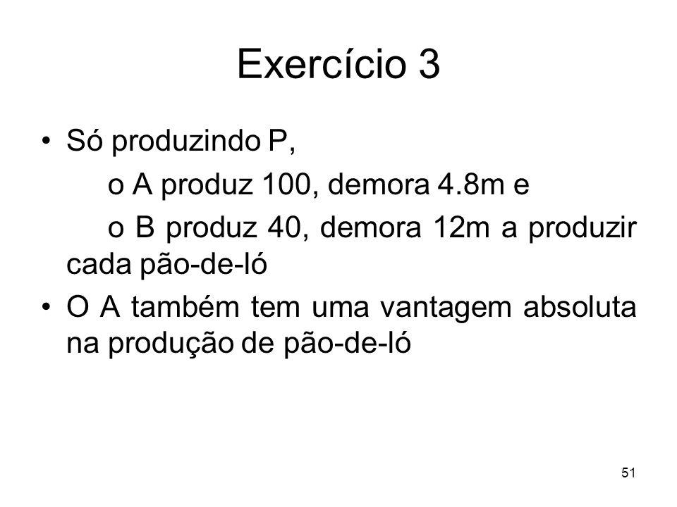 Exercício 3 Só produzindo P, o A produz 100, demora 4.8m e