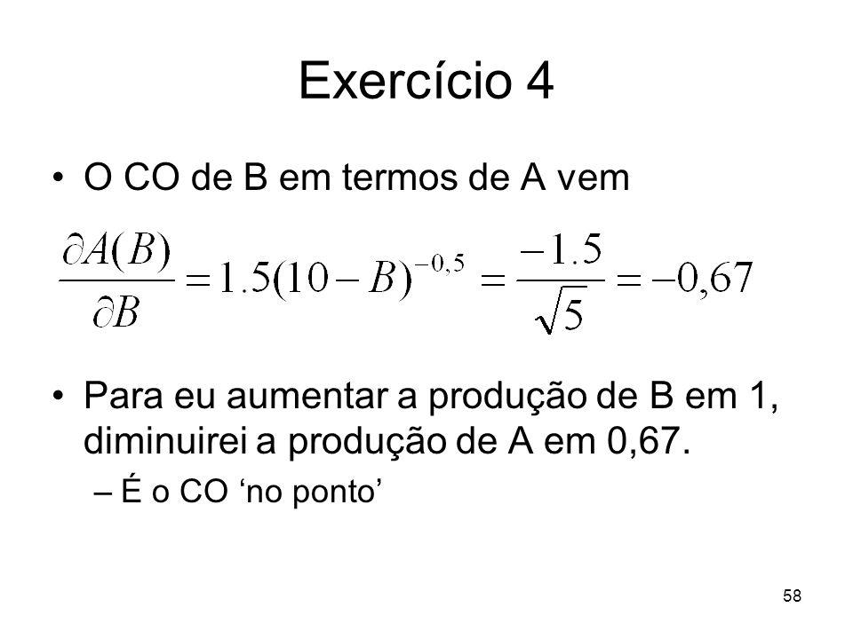 Exercício 4 O CO de B em termos de A vem