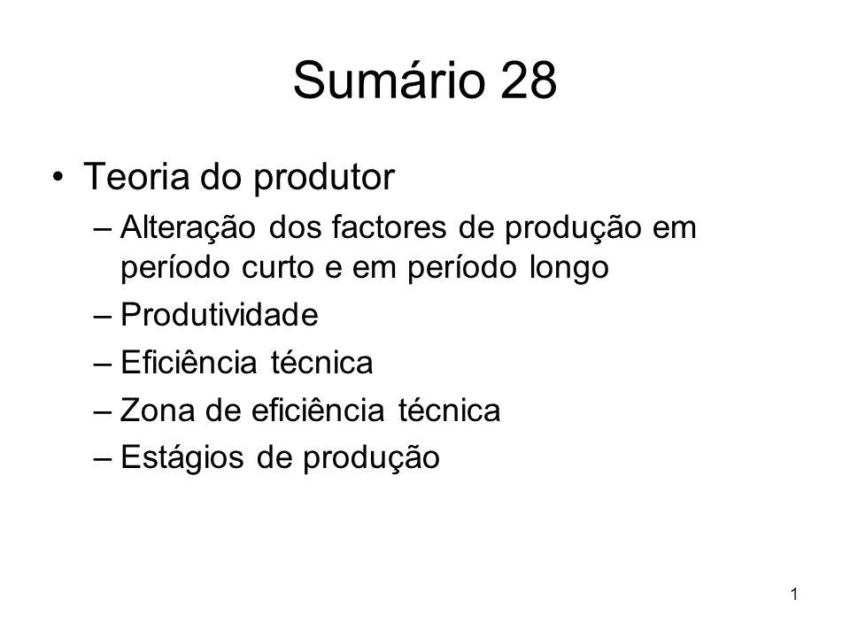 Sumário 28 Teoria do produtor