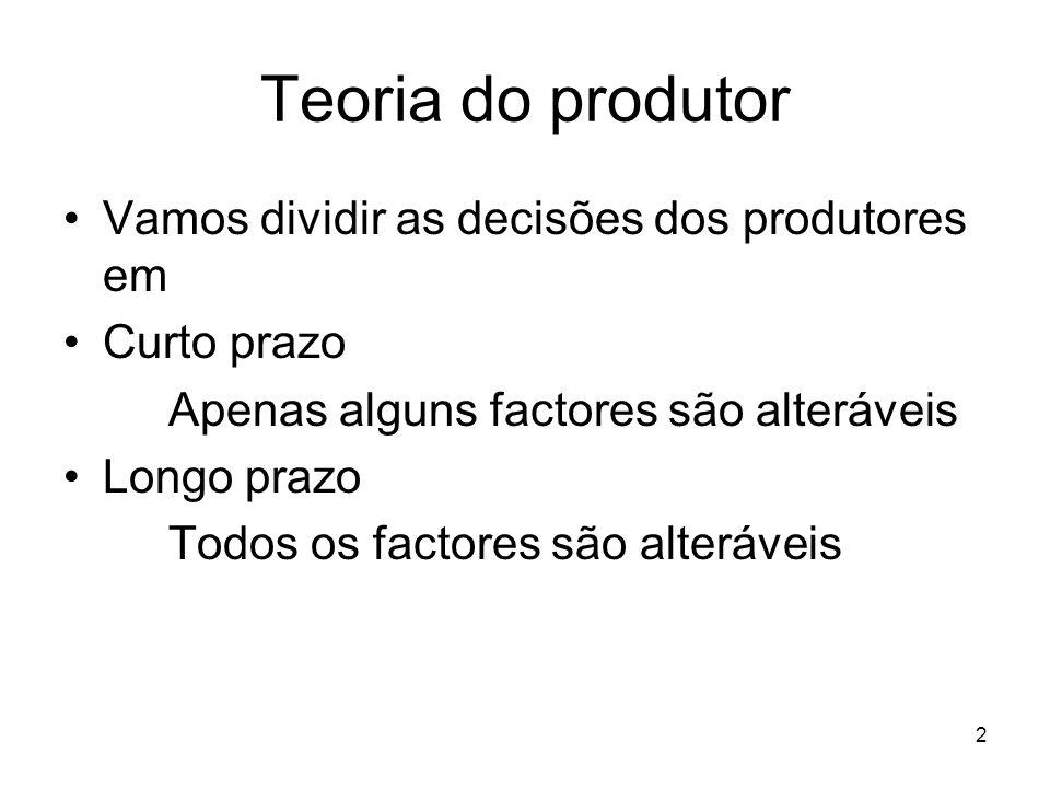 Teoria do produtor Vamos dividir as decisões dos produtores em