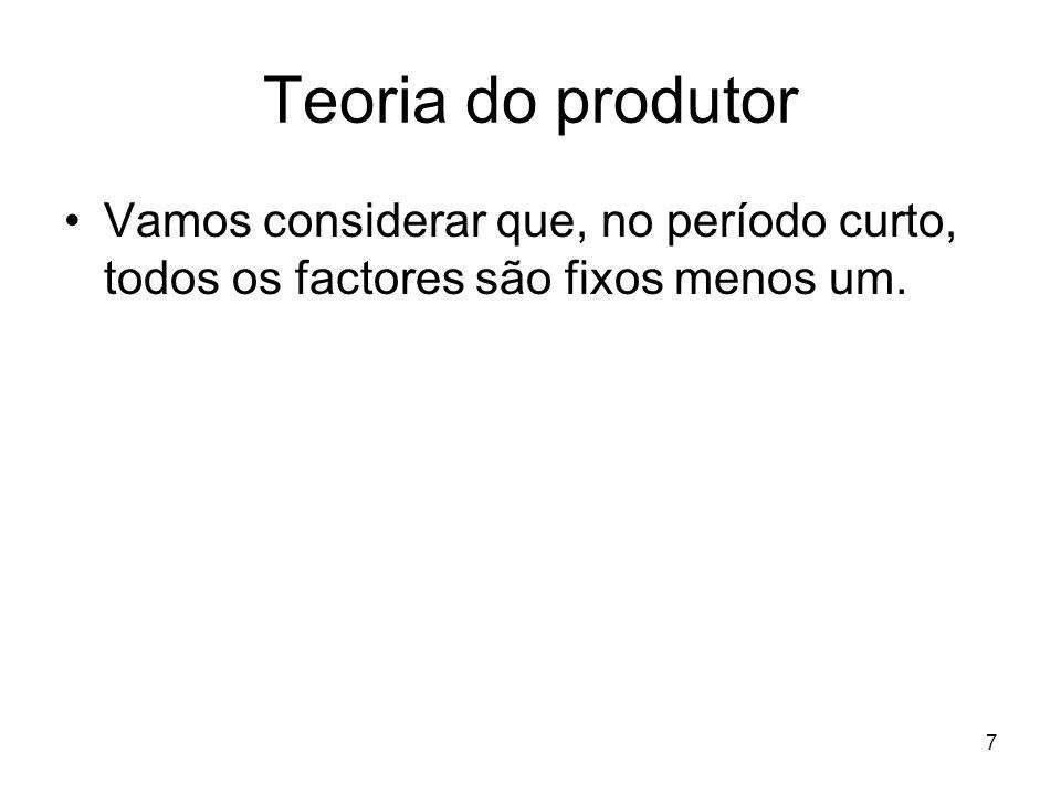 Teoria do produtor Vamos considerar que, no período curto, todos os factores são fixos menos um.