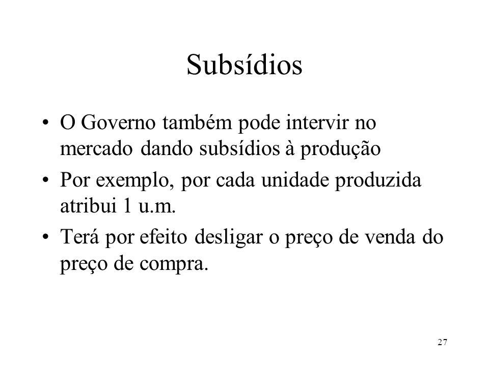 Subsídios O Governo também pode intervir no mercado dando subsídios à produção. Por exemplo, por cada unidade produzida atribui 1 u.m.