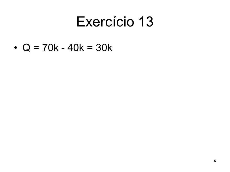 Exercício 13 Q = 70k - 40k = 30k