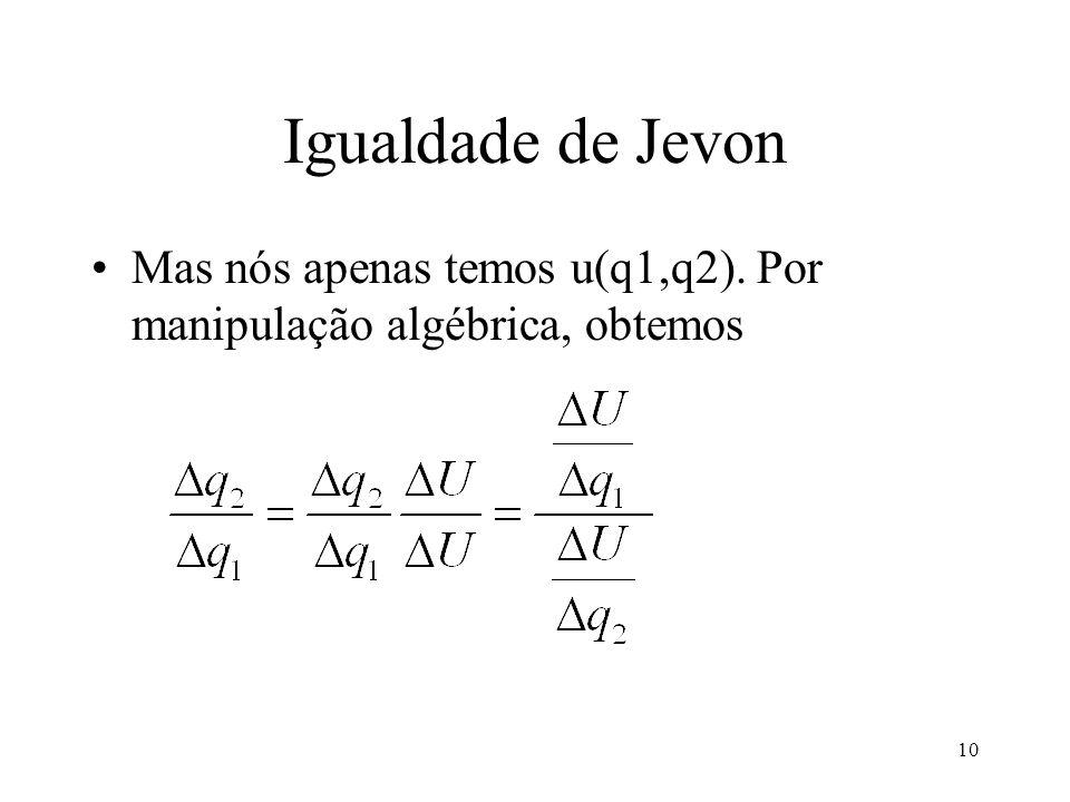 Igualdade de Jevon Mas nós apenas temos u(q1,q2). Por manipulação algébrica, obtemos