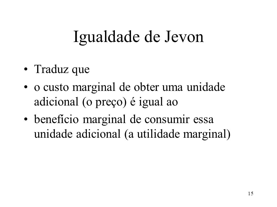 Igualdade de Jevon Traduz que