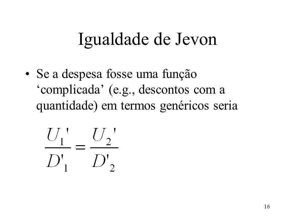 Igualdade de Jevon Se a despesa fosse uma função 'complicada' (e.g., descontos com a quantidade) em termos genéricos seria.