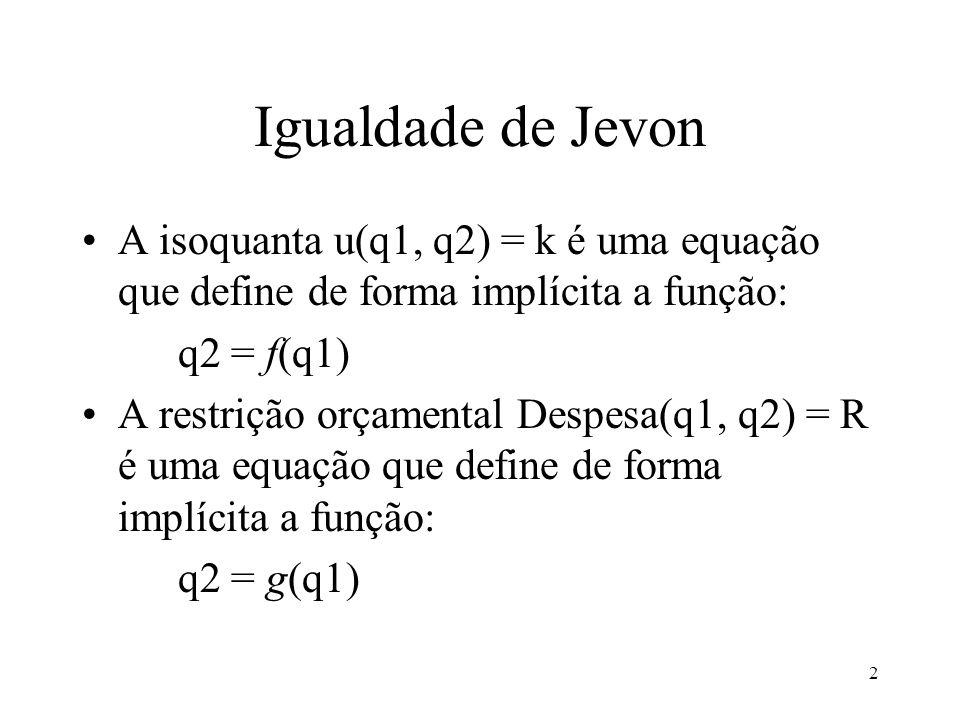 Igualdade de Jevon A isoquanta u(q1, q2) = k é uma equação que define de forma implícita a função: q2 = f(q1)
