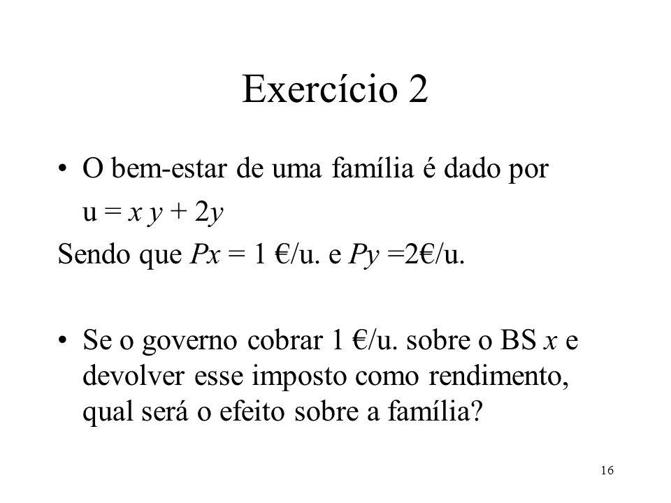 Exercício 2 O bem-estar de uma família é dado por u = x y + 2y