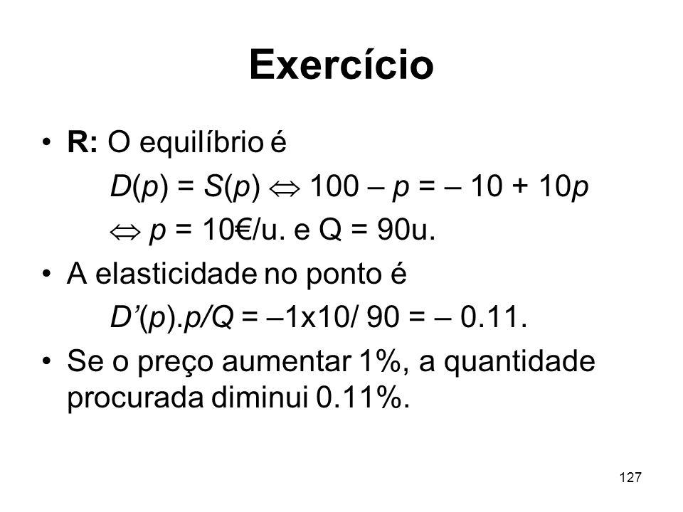 Exercício R: O equilíbrio é D(p) = S(p)  100 – p = – 10 + 10p