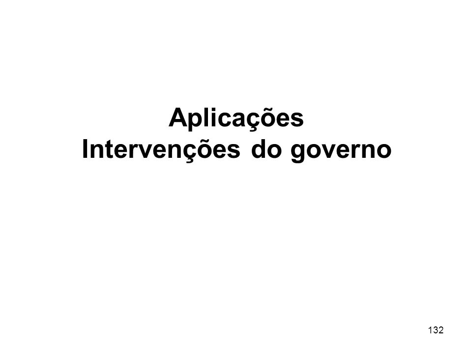 Aplicações Intervenções do governo