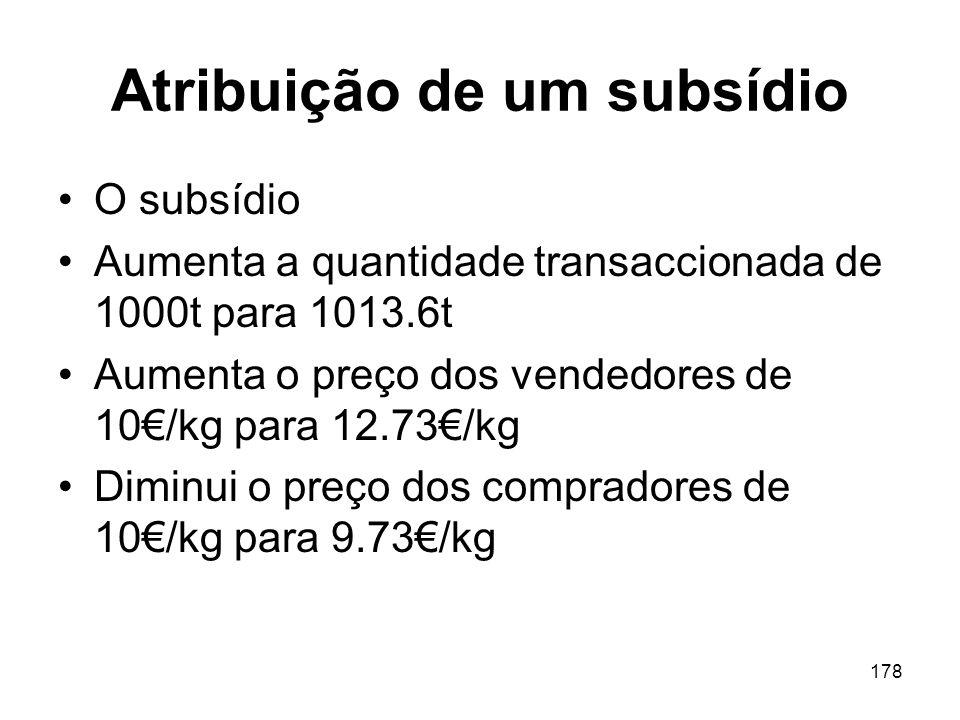 Atribuição de um subsídio