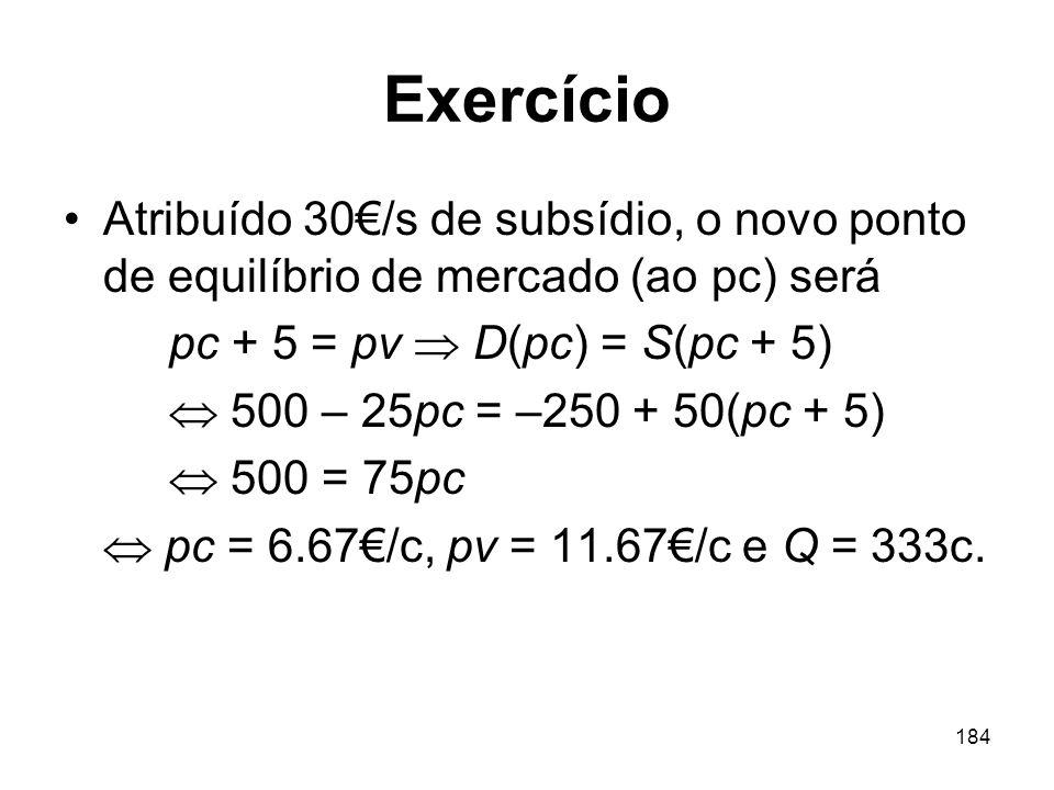 Exercício Atribuído 30€/s de subsídio, o novo ponto de equilíbrio de mercado (ao pc) será. pc + 5 = pv  D(pc) = S(pc + 5)