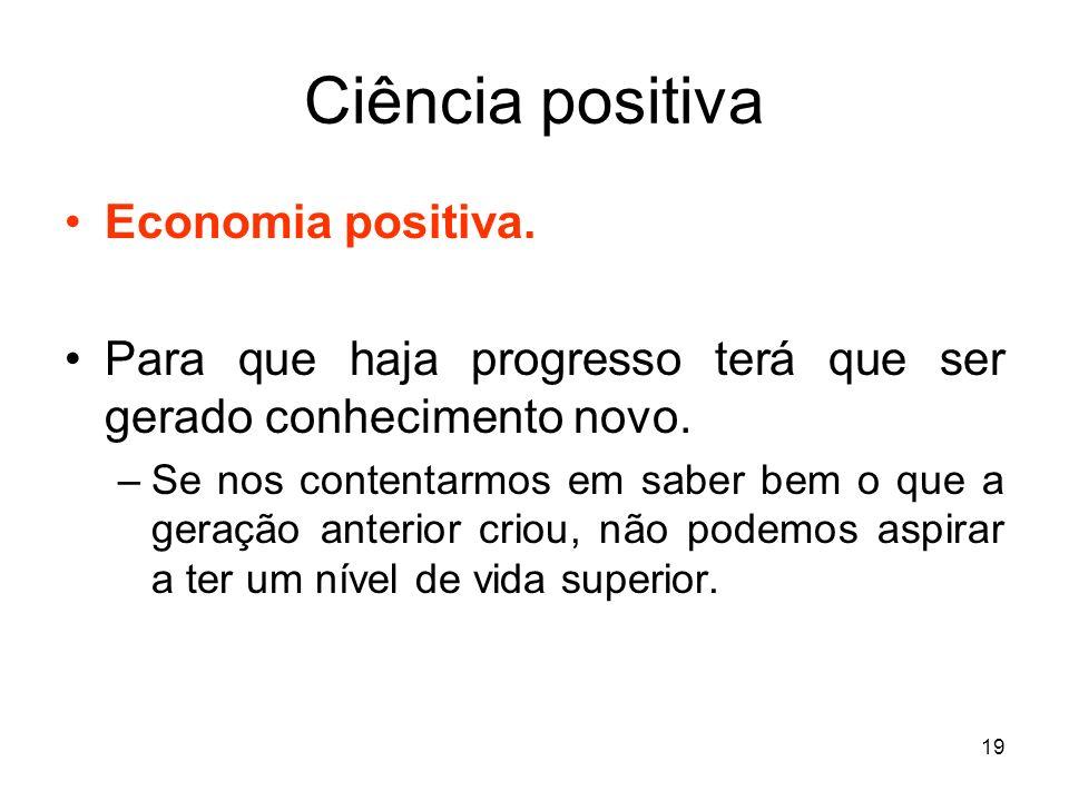 Ciência positiva Economia positiva.