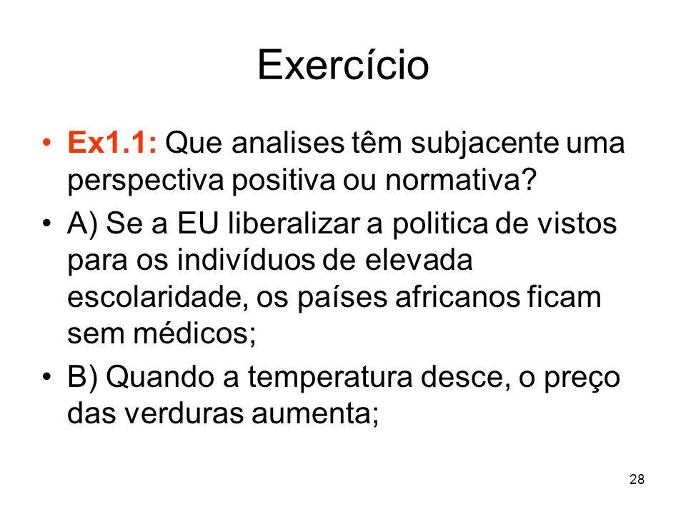 Exercício Ex1.1: Que analises têm subjacente uma perspectiva positiva ou normativa