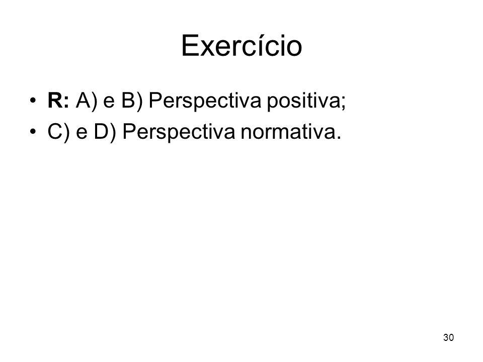 Exercício R: A) e B) Perspectiva positiva;