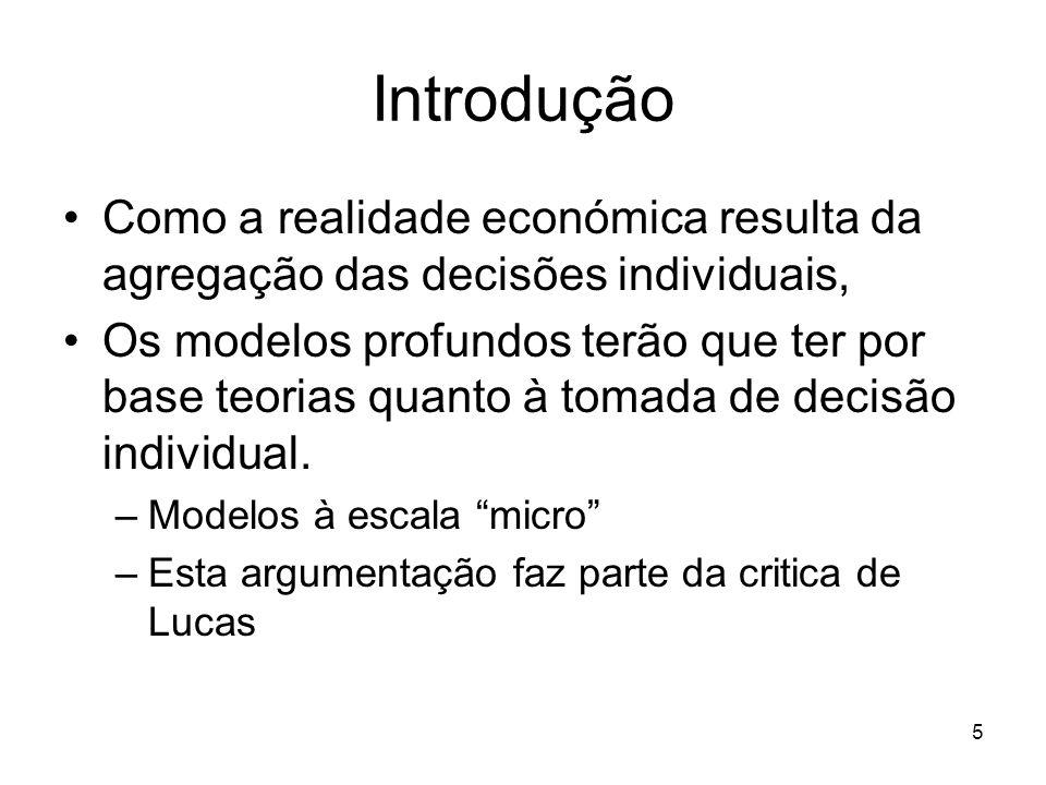 Introdução Como a realidade económica resulta da agregação das decisões individuais,