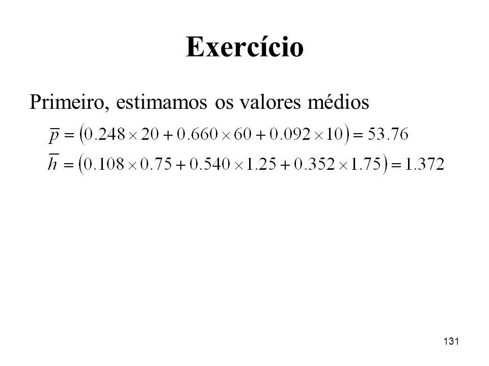 Exercício Primeiro, estimamos os valores médios