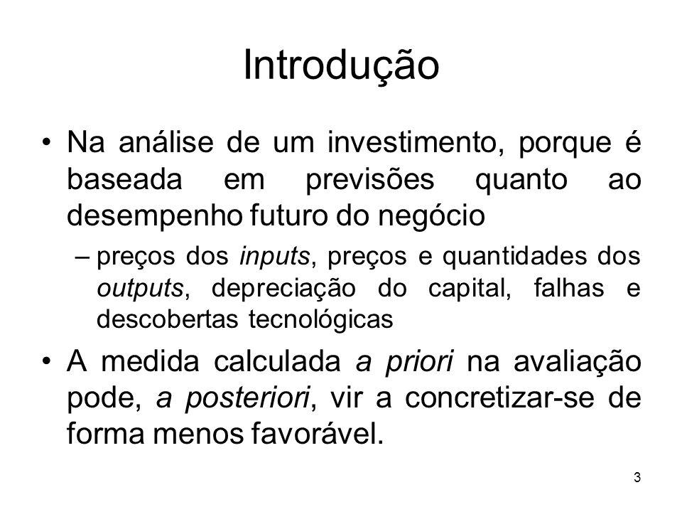 Introdução Na análise de um investimento, porque é baseada em previsões quanto ao desempenho futuro do negócio.