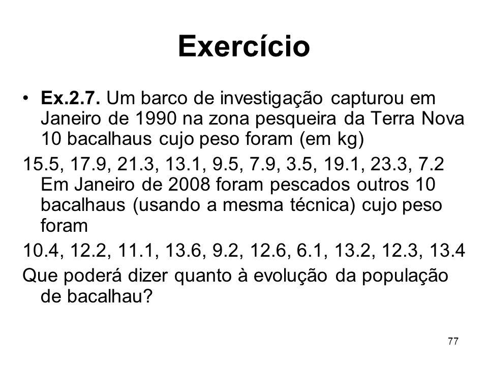 Exercício Ex.2.7. Um barco de investigação capturou em Janeiro de 1990 na zona pesqueira da Terra Nova 10 bacalhaus cujo peso foram (em kg)